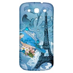 Girly Blue Bird Vintage Damask Floral Paris Eiffel Tower Samsung Galaxy S3 S III Classic Hardshell Back Case