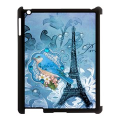 Girly Blue Bird Vintage Damask Floral Paris Eiffel Tower Apple iPad 3/4 Case (Black)