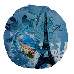 Girly Blue Bird Vintage Damask Floral Paris Eiffel Tower 18  Premium Round Cushion