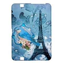Girly Blue Bird Vintage Damask Floral Paris Eiffel Tower Kindle Fire HD 8.9  Hardshell Case