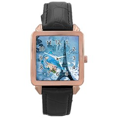 Girly Blue Bird Vintage Damask Floral Paris Eiffel Tower Rose Gold Leather Watch