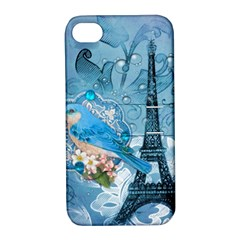 Girly Blue Bird Vintage Damask Floral Paris Eiffel Tower Apple Iphone 4/4s Hardshell Case With Stand