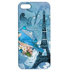Girly Blue Bird Vintage Damask Floral Paris Eiffel Tower Apple iPhone 5 Hardshell Case with Stand