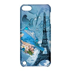 Girly Blue Bird Vintage Damask Floral Paris Eiffel Tower Apple Ipod Touch 5 Hardshell Case With Stand