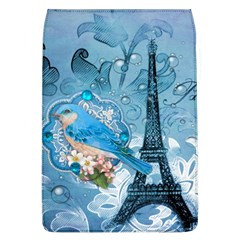 Girly Blue Bird Vintage Damask Floral Paris Eiffel Tower Removable Flap Cover (Large)