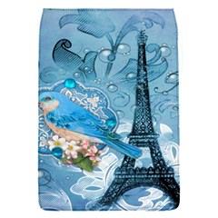 Girly Blue Bird Vintage Damask Floral Paris Eiffel Tower Removable Flap Cover (Small)