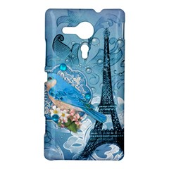 Girly Blue Bird Vintage Damask Floral Paris Eiffel Tower Sony Xperia Sp M35H Hardshell Case