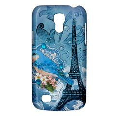 Girly Blue Bird Vintage Damask Floral Paris Eiffel Tower Samsung Galaxy S4 Mini Hardshell Case