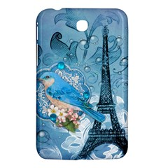 Girly Blue Bird Vintage Damask Floral Paris Eiffel Tower Samsung Galaxy Tab 3 (7 ) P3200 Hardshell Case