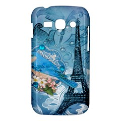 Girly Blue Bird Vintage Damask Floral Paris Eiffel Tower Samsung Galaxy Ace 3 S7272 Hardshell Case