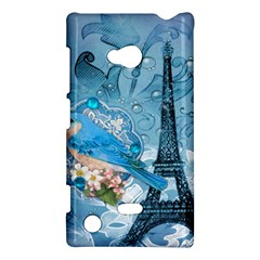 Girly Blue Bird Vintage Damask Floral Paris Eiffel Tower Nokia Lumia 720 Hardshell Case