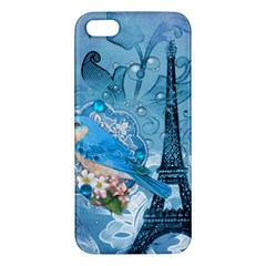 Girly Blue Bird Vintage Damask Floral Paris Eiffel Tower iPhone 5S Premium Hardshell Case