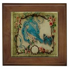 Victorian Girly Blue Bird Vintage Damask Floral Paris Eiffel Tower Framed Ceramic Tile