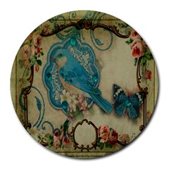 Victorian Girly Blue Bird Vintage Damask Floral Paris Eiffel Tower 8  Mouse Pad (round)