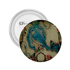 Victorian Girly Blue Bird Vintage Damask Floral Paris Eiffel Tower 2 25  Button