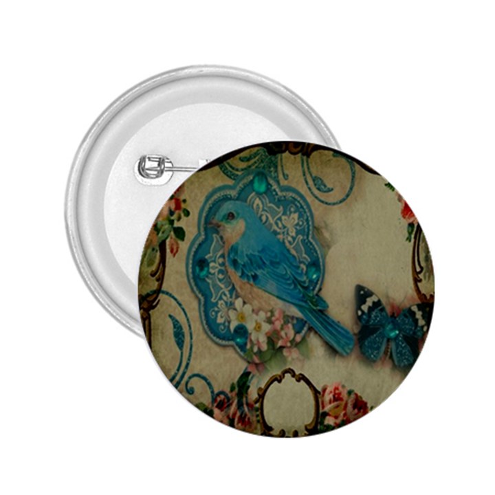 Victorian Girly Blue Bird Vintage Damask Floral Paris Eiffel Tower 2.25  Button