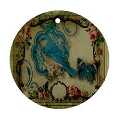 Victorian Girly Blue Bird Vintage Damask Floral Paris Eiffel Tower Round Ornament