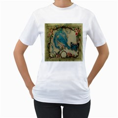Victorian Girly Blue Bird Vintage Damask Floral Paris Eiffel Tower Womens  T-shirt (White)