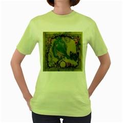 Victorian Girly Blue Bird Vintage Damask Floral Paris Eiffel Tower Womens  T-shirt (Green)