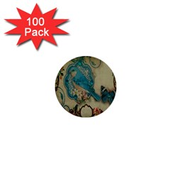 Victorian Girly Blue Bird Vintage Damask Floral Paris Eiffel Tower 1  Mini Button (100 pack)