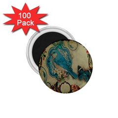 Victorian Girly Blue Bird Vintage Damask Floral Paris Eiffel Tower 1.75  Button Magnet (100 pack)