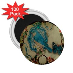 Victorian Girly Blue Bird Vintage Damask Floral Paris Eiffel Tower 2 25  Button Magnet (100 Pack)