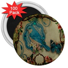 Victorian Girly Blue Bird Vintage Damask Floral Paris Eiffel Tower 3  Button Magnet (100 pack)