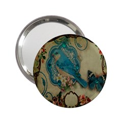 Victorian Girly Blue Bird Vintage Damask Floral Paris Eiffel Tower Handbag Mirror (2.25 )
