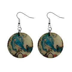 Victorian Girly Blue Bird Vintage Damask Floral Paris Eiffel Tower Mini Button Earrings