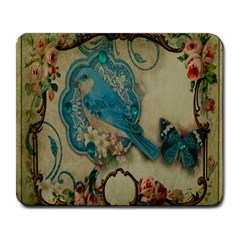 Victorian Girly Blue Bird Vintage Damask Floral Paris Eiffel Tower Large Mouse Pad (Rectangle)