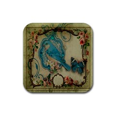 Victorian Girly Blue Bird Vintage Damask Floral Paris Eiffel Tower Drink Coaster (square)