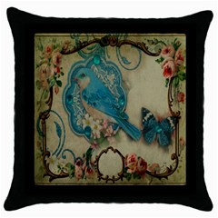 Victorian Girly Blue Bird Vintage Damask Floral Paris Eiffel Tower Black Throw Pillow Case