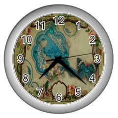 Victorian Girly Blue Bird Vintage Damask Floral Paris Eiffel Tower Wall Clock (Silver)