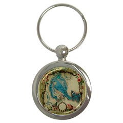 Victorian Girly Blue Bird Vintage Damask Floral Paris Eiffel Tower Key Chain (round)