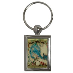 Victorian Girly Blue Bird Vintage Damask Floral Paris Eiffel Tower Key Chain (rectangle)