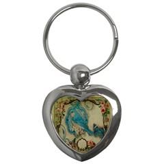 Victorian Girly Blue Bird Vintage Damask Floral Paris Eiffel Tower Key Chain (Heart)