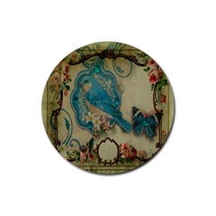 Victorian Girly Blue Bird Vintage Damask Floral Paris Eiffel Tower Drink Coaster (round)