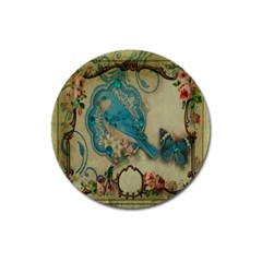 Victorian Girly Blue Bird Vintage Damask Floral Paris Eiffel Tower Magnet 3  (Round)