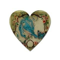Victorian Girly Blue Bird Vintage Damask Floral Paris Eiffel Tower Magnet (Heart)