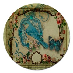 Victorian Girly Blue Bird Vintage Damask Floral Paris Eiffel Tower Magnet 5  (round)