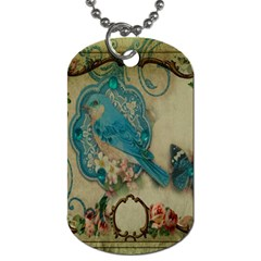 Victorian Girly Blue Bird Vintage Damask Floral Paris Eiffel Tower Dog Tag (Two-sided)