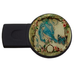 Victorian Girly Blue Bird Vintage Damask Floral Paris Eiffel Tower 1GB USB Flash Drive (Round)