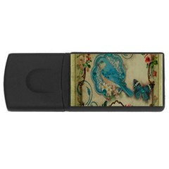 Victorian Girly Blue Bird Vintage Damask Floral Paris Eiffel Tower 1GB USB Flash Drive (Rectangle)