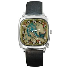 Victorian Girly Blue Bird Vintage Damask Floral Paris Eiffel Tower Square Leather Watch