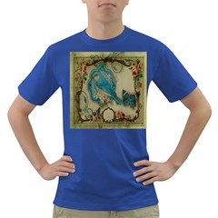 Victorian Girly Blue Bird Vintage Damask Floral Paris Eiffel Tower Mens' T-shirt (Colored)