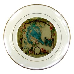 Victorian Girly Blue Bird Vintage Damask Floral Paris Eiffel Tower Porcelain Display Plate