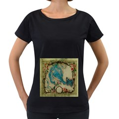 Victorian Girly Blue Bird Vintage Damask Floral Paris Eiffel Tower Womens' Maternity T-shirt (Black)