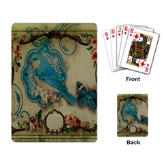 Victorian Girly Blue Bird Vintage Damask Floral Paris Eiffel Tower Playing Cards Single Design