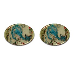 Victorian Girly Blue Bird Vintage Damask Floral Paris Eiffel Tower Cufflinks (Oval)