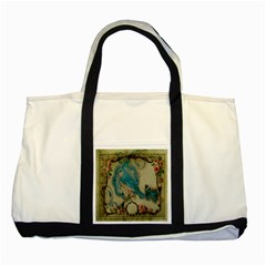 Victorian Girly Blue Bird Vintage Damask Floral Paris Eiffel Tower Two Toned Tote Bag